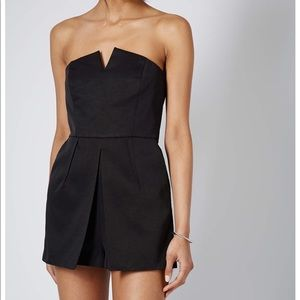 TopShop Notched Neck Strapless Romper